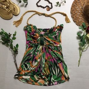 Sky jungle print size small braided back halter